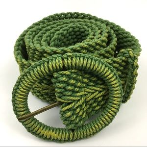 Coldwater Creek Green Cotton Woven Cord Belt